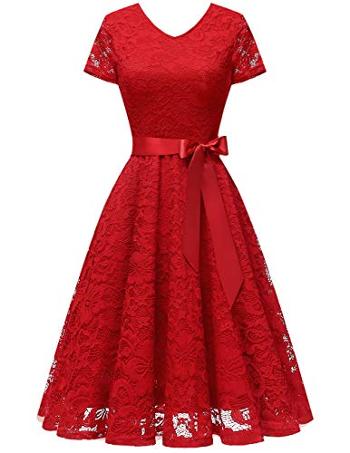 Bridesmay 50s retro kanten bruidsmeisje jurk met korte mouwen feestjurk