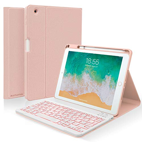 Keyboard case for iPad 9.7 Inch Air 2th Gen, iPad 5th iPad 6th Generation (2017 2018) Case with Keyboard Detachable, 7 Color Wireless Backlit Keyboard, Smart Folio Cover with Pencil Holder(Pink)