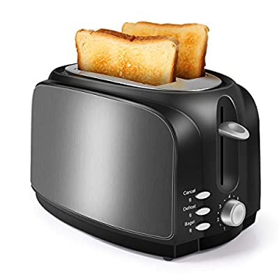 2 Slice Toaster, Double Extra Wide Slot Small Mini Toaster with Bagel, Cancel, Defrost Function and 7 Bread Shade Settings Bread Toaster, Stainless Steel Housing and Removable Crumb Tray