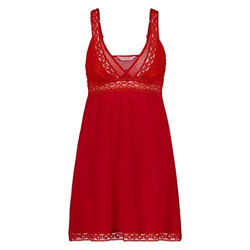 HUNKEMÖLLER Damen Spitzen-Nachtwäsche Slip-Dress mit Spitze und Graphik Rot S