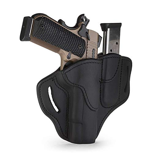 """1791 GUNLEATHER 1911 Combo Mag Holster, Right Hand OWB Leather Gun Holster for Belts fits All 1911 Models with 4"""" and 5"""" Barrels (Stealth Black)"""