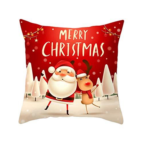 Rysmliuhan Shop Almohada Navidad Cojines Navidad Funda de Almohada Feliz Navidad Funda de Almohada de Navidad Impresa Funda de Almohada de Navidad de diseño 3