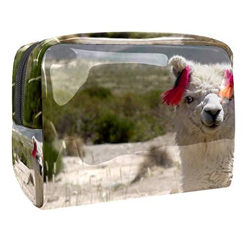 Trousse de toilette à fermeture éclair en PVC avec motif animal lama, idéale pour le maquillage ou la salle de bain