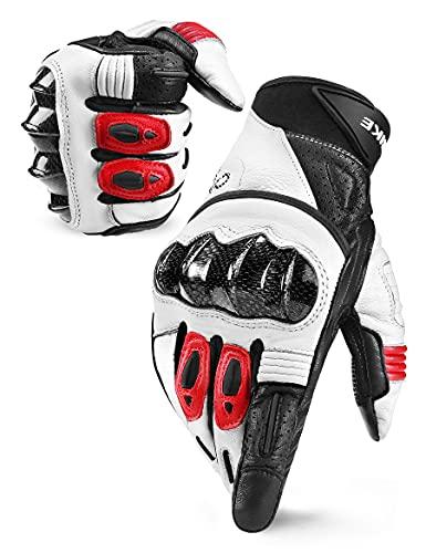INBIKE Guantes Moto Piel Cuero con La Funcionalidad De Pantalla TÁCtil para Hombre, Moto De Motocross con Almohadillas De 3 MM EVA Y Siliconas Antideslizantes(IM808-Rojo,M)