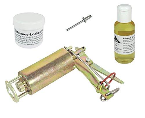 Wühlmausfalle Kieferle W2 + Pflegeöl + Lockmittel + Ausdrücker