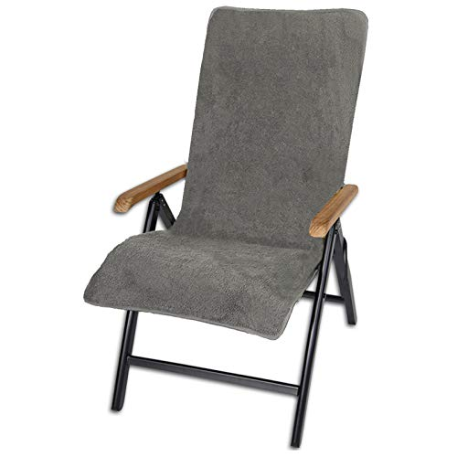 JEMIDI Frottee Schonbezug für Gartenstühle 100% Baumwolle Gartenstuhl 60cm x 130cm Frotteebezug Auflage Auflagenbezug Gartenstuhlbezug Schonauflage Bezug Auflagenbezug Anthrazit