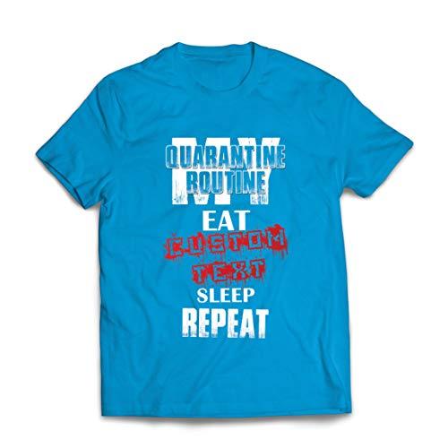 lepni.me Mannen T-shirt Quarantine Routine Eat Sleep Repeat Custom Social Distance