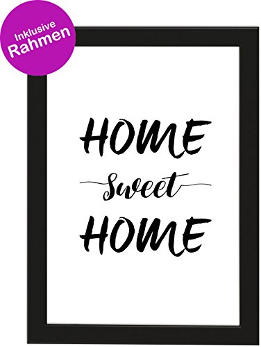 PICSonPAPER Poster DIN A4 Home Sweet Home, gerahmt mit schwarzem Bilderrahmen, Geschenk, Geschenkidee, Geburtstagsgeschenk, Poster mit Rahmen, Kunstdruck, Typographie (Home Sweet Home)