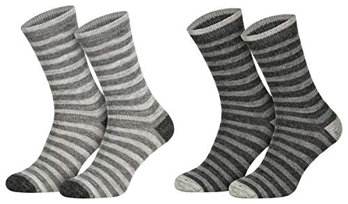 2 Paar Alpaka Socken Socks Warme Wollsocken Damen Herren Geringelt atmungsaktive Kuschelsocken feinster Wolle 39 40 41 42