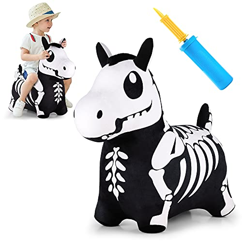 iPlay, iLearn Bouncy Pals Skeleton Hopping Horse, Halloween Inflatable Bouncing Animal Hopper Toys, Outdoor Indoor Plush Ride on Bouncer, Birthday Gift for 18 Month 2 3 4 Year Old Toddler Boy Girl Kid