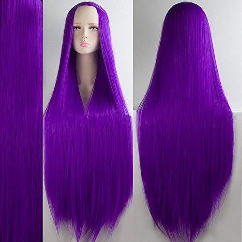 Perruque longue droite multi-usages femelle 100cm noir et blanc bleu vert violet jaune couleur faux cheveux, violet