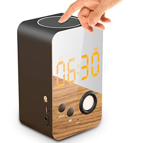 Radiowekker met Bluetooth stereo luidspreker, 8 in 1 draadloze digitale digitale wekker met nachtlampje, FM-radio, ingebouwde microfoon ondersteunt FM/MP3-speler/3,5 mm Aux/Micro SD (DY38)