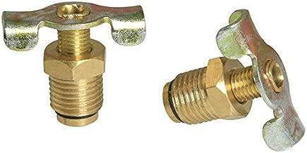 PSCCO 2PCS 1/4 Brass Air Hose Fitting Air Compressor Blowdown Valve NPT Male External Drain Cock Drain Switch With Handle