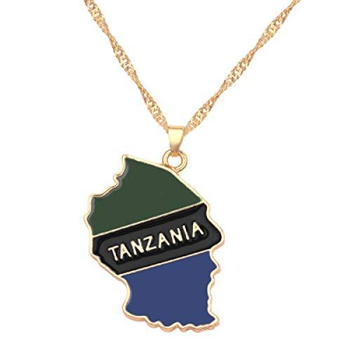 TFOOD Ketting met wereldkaart voor dames, Tanzania vlag, kaarthanger, gouden kettingmagie patriotische etnische sieraden voor moeders mannen cadeau-accessoires