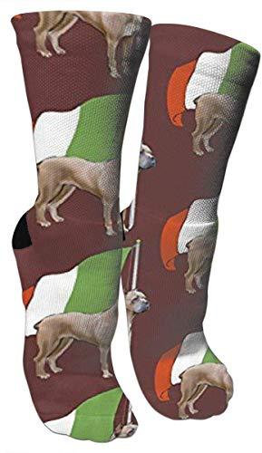 Cane Corso Wth Italienische Flagge Herren Neuheit Socken Lustige Baumwolle Crew Socken Nette Neuheit Kleid Socken für Tourismus Sport Urlaub