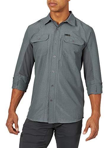 ATG by Wrangler Men's Long Sleeve Mixed Material Shirt, turbulence, Large