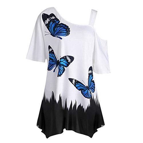 YANFANG Camiseta De TúNica Manga Corta Suelta con Estampado Mariposa Superior Un Hombro Sexy para Mujer,Blusas Y Camisas Mujer,Camisetas Blancas Mujer Corta,Camisetas Talla Grande,Negro,XL
