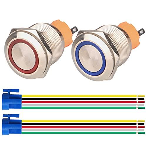 GUUZI 2pcs Interruptor de Botón Pulsador Momentáneo 1NO1NC Acero Inoxidable Impermeable 220V-230V/5A LED Iluminado con Enchufe de Cable Adecuado para Orificio de Montaje de 22mm(Azul+Rojo)