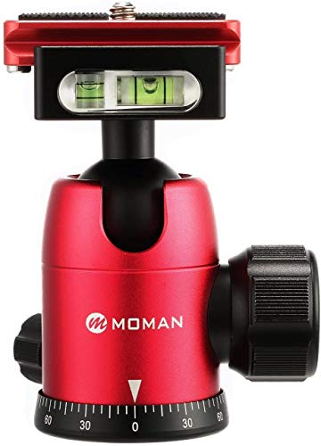 Moman Stativ Kugelkopf Stativkopf 360 Grad drehbar Panorama bis zu 10kg Tragekraft mit 1/4 Zoll Schnellwechselplatte für DSLR Kamera Camcorder Stativ Einbeinstativ