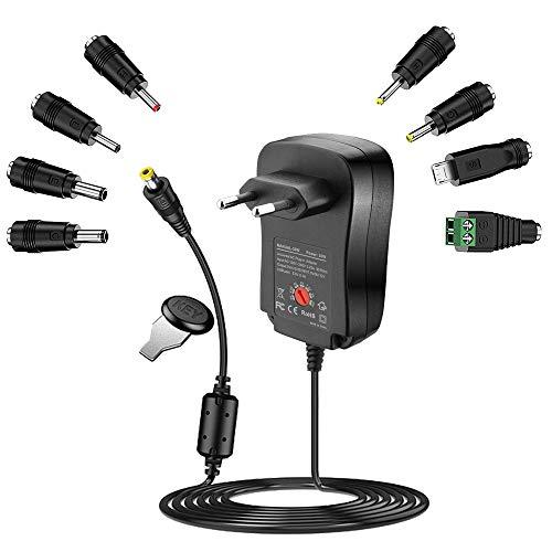Rocketek Adaptador universal de CA/CC de 30 W con 8 puntas adaptadoras, conector USB para dispositivos electrónicos de 3 V-12 V y tiras LED (2000 mA máx.), para cámaras, altavoces, routers, escalas y
