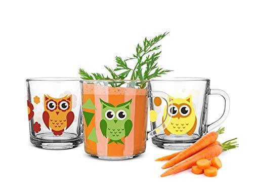 6 Tassen Motiv Eule Becher Geschirr Glas Henkel 230 ml Teegläser Kindergläser