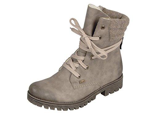 Rieker Damenschuhe 78531 Damen Boots, Schnürboots, Stiefel beige (Kiesel/Wood / 64), EU 36