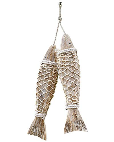 Handcrafted Hanging Wooden Fish Nautical Ornaments Antique Home Wall Decor Nautical Gift