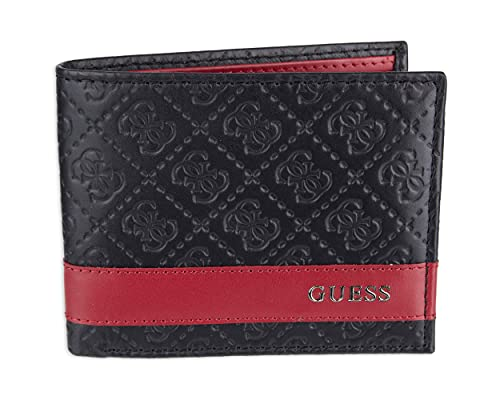 Guess Men's Leather Slim Bifold Wallet, Black/Red, One Size