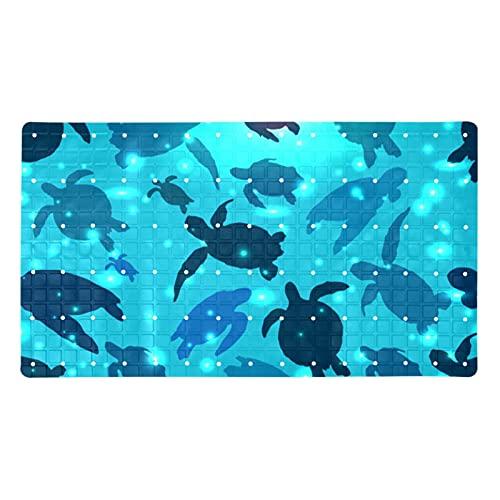 Z&Q Alfombra de bañera Tortuga Azul Alfombra de baño Antideslizante para bebés, Alfombrilla de Ducha para baño para niños con ventosas, PVC ecológico 40x71 cm