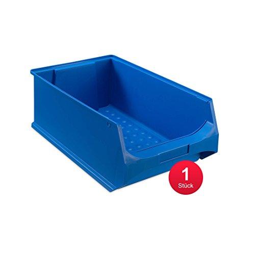 aidB Sichtlagerbox, stabile Stapelbox aus Kunststoff, Lagerbox, ideal für Kleinteile (5.0-500x300x200, rot, blau, gelb, grau) (Blau)