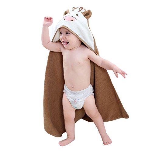 Zerlar Premium 100% Baumwolle Cartoon Kuh Baby Badetuch Decke mit Kapuze Beach poncho Umhang für Kinder Kleinkinder