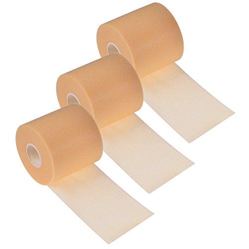 BBTO 3 Pieces Foam Underwrap Sports Pre-wrap Athletic Tape, 2.75 Inch by 30 Yards (Beige)