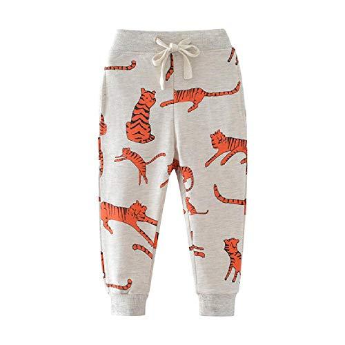 YNPM Jungen Mädchen Hose Hose für Herbst Frühling Kinder Kleidung Tigers Bedruckte Lange Sweatpants Jungen Cartoon Hose Gr. 5 Jahre, W7052 Tiger