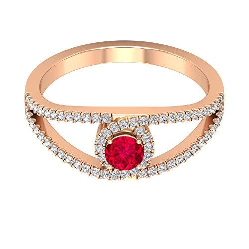 Anillo de rubí solitario 0,34 quilates, 1 mm HI-SI diamante halo, anillo de vástago dividido de oro (4 mm de rubí redondo), 14K Oro rosa, Size:EU 57