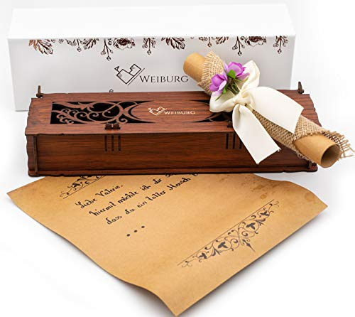 WEIBURG Geschenkbox Holz edel 26 x 7 x 4 cm + Vintage Briefpapier geeignet als: Geschenkidee, Geburtstagskarte, Geldgeschenk, Dankeskarte uvm.
