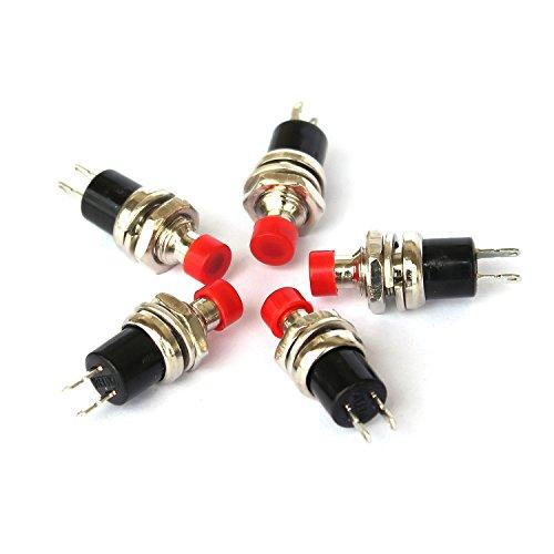 Ytian 5 pcs SPST Mini Schalter Momentane Druckschalter On Off Button 220V 2A Rot