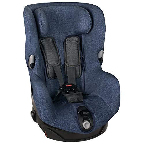 Fundas Para Sillas de Algodón Oeko-Tex para Silla de Coche Maxi Cosi Axiss Funda Silla Garantiza la Comodidad de la Piel del Bebé y Ayuda a no Sudar Blue Jeans