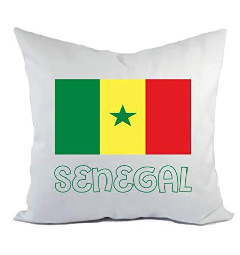 Typolitografie Ghisleri kussen wit Senegal met vlag kussensloop en vulling 40 x 40 cm van polyester