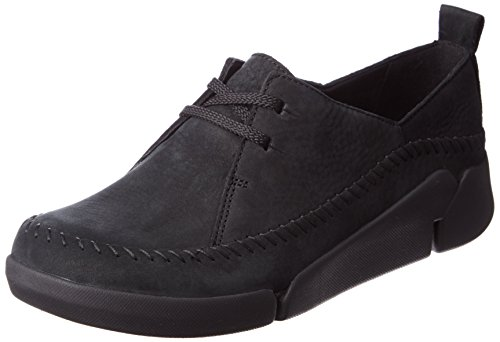 Clarks Tri Angel, Damen Low Top Sneakers, Schwarz (Black Combi Lea), 35.5 EU (3 Damen UK)
