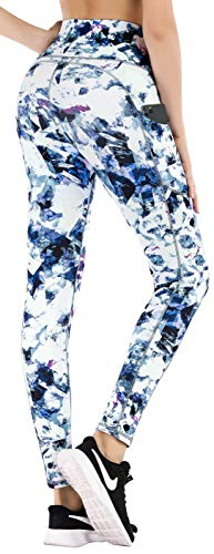 IUGA Leggings with Pockets for Women High Waisted Printed Yoga Pants for Women Workout Leggings for Women with Side Pockets (Crystal Blue, Medium)