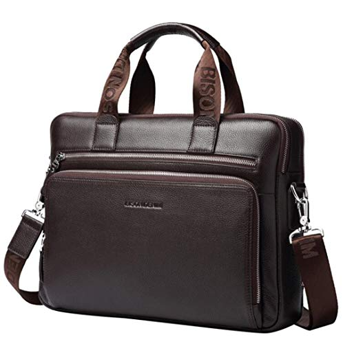 Genuine Leather 14 Laptop Handbag Mens Business Shoulder Messenger Bag 23331 One Size
