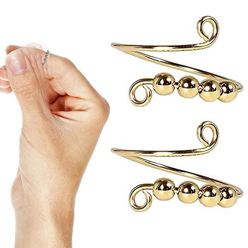 DAGONGJI Fidget Spinner Ring, Anillo Spinner Anillo de meditación, con Aros de latón y Cobre giratorios a su Alrededor, Anillos de inquietud para la ansiedad Manualidades de Tejido de Bricolaje Gold
