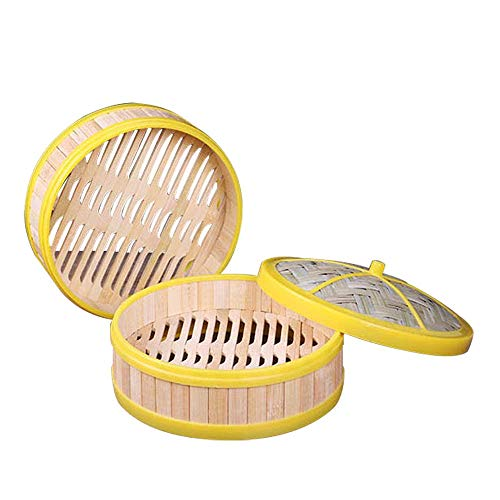lqgpsx 2 Tier Bamboo Steamer Perfect for Steaming Dim Sum Dumplings Buns Vegetables Fish Rice, Non-Stick Pad (7 INCH)