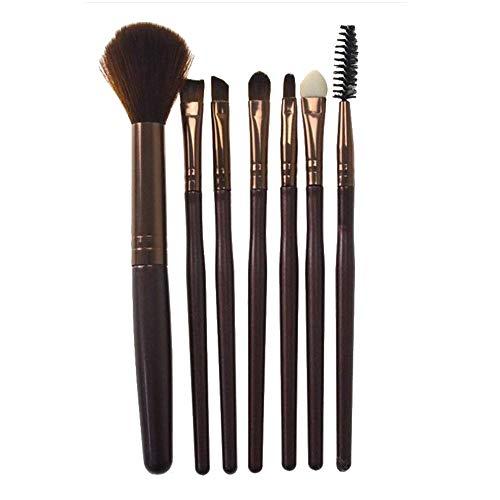 Lot de 7 Set Outils Pinceaux Maquillage Pinceaux pour le Yeux Ombre à Paupières Sourcils Shader Concealer Cosmetics Brush, Silicone Pinceau fard à paupières Pinceau de mélange de cosmétiques(café)