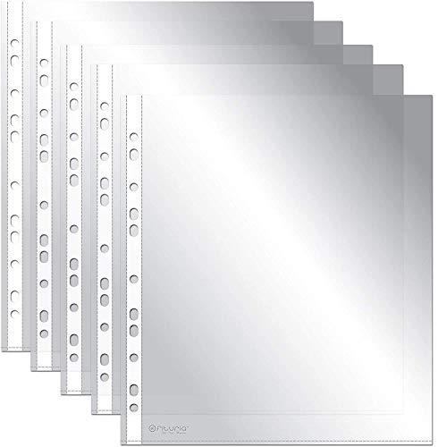 OFITURIA COM0067 Fundas Perforadas Multitaladro Para Folios, 100 Unidades, Fabricadas En Polipropileno (80 MICRAS) Piel de Naranja
