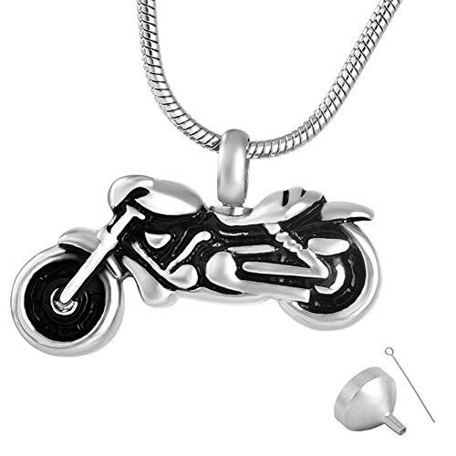 QFV Memorial Ash Colgante Urna Collar American Cool Motocicleta Acero Inoxidable Hombres Joyería de cremación