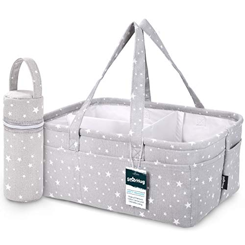 StarHug Baby Diaper Caddy Organizer - Baby Shower Gift Basket | Large Nursery Storage Bin for Changing Table | Car Travel Tote Bag | Newborn Registry Must Have | Bonus Bottle Cooler