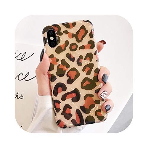 Funda de silicona suave para iPhone 11 Pro Max X XR XS 7 8 Plus 6 6S SE2020 12 mini Leopard Cherry Love Dream Shell Back Cover - Leopardo para iPhone XR