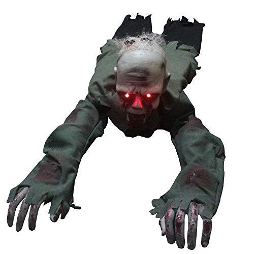CONRAL Haunters de Halloween Animated Crawling Zombie Ghost Torso Groundbreaker con LED Eyes Prop Decoration, Bloody Scary Screaming Bloody Face, para el Cementerio de la casa encantada