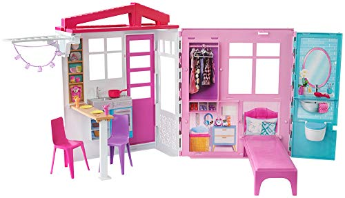 Barbie Dollhouse, Portable 1-Story Playset with Pool and Accessories, for 3 to 7 Year Olds